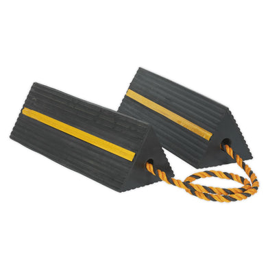Sealey Heavy-Duty Rubber Wheel Chocks 8kg - Pair