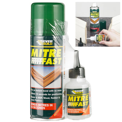 Everbuild Industrial Mitre Fast 200ml Activator 50g Adhesive