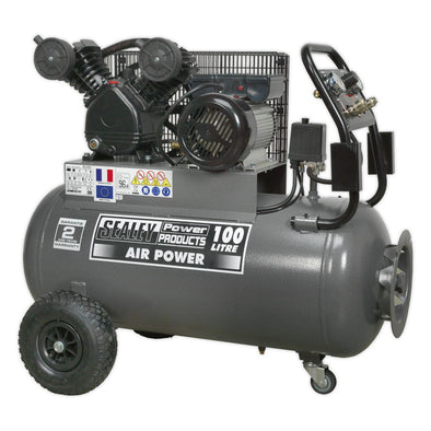 Sealey Premier Compressor 100L Belt Drive 3hp with Front Control Panel