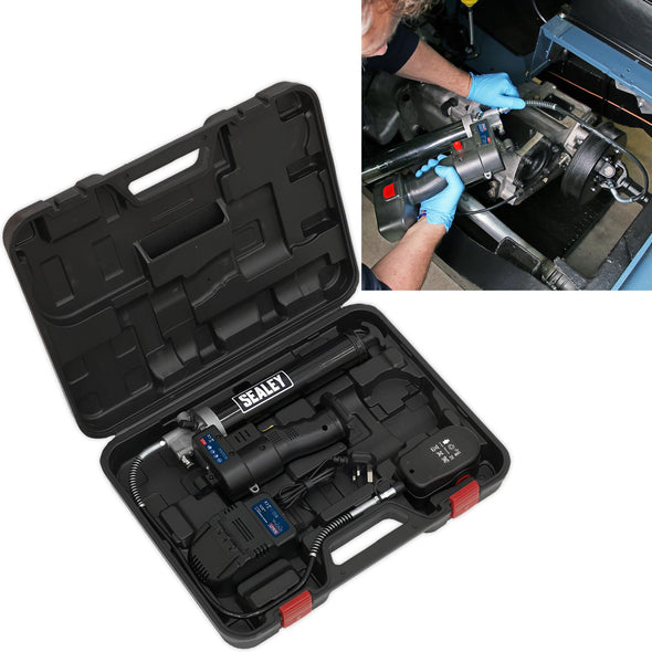 Sealey 18V Cordless Grease Gun 1.7Ah Battery and Mains Charger in Carry Case