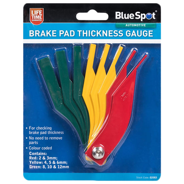 BlueSpot 8 Piece Brake Pad and Lining Thickness Gauge 2-12mm