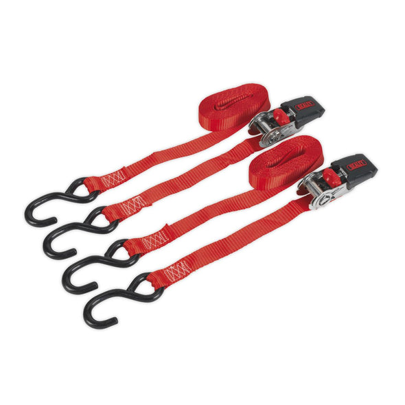 Sealey Ratchet Tie Down 25mm x 4m Polyester Webbing with S-Hooks 800kg Load Test - Pair