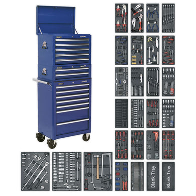 Sealey Superline Pro Tool Chest Combination 14 Drawer with Ball Bearing Slides - Blue & 1179pc Tool Kit
