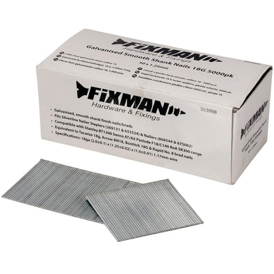 Fixman 5000pc 18 Gauge Galvanised Smooth Shank Nails 50 x 1.25mm