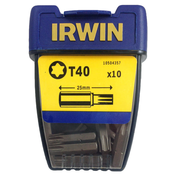 Irwin 10 Pack 25mm Torx Screwdriver Bits T10-T40 Tic Tac Box