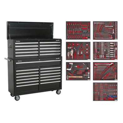 Sealey Superline Pro Tool Chest Combination 23 Drawer with Ball Bearing Slides - Black with 446pc Tool Kit