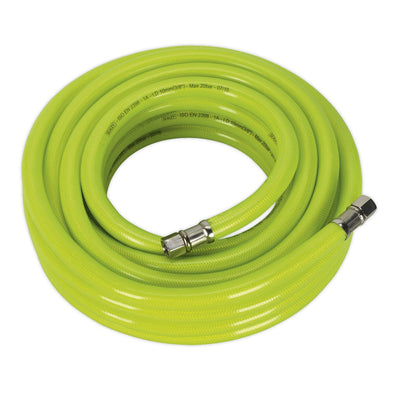 "Sealey Air Hose High Visibility 10m x Ø10mm with 1/4""BSP Unions"