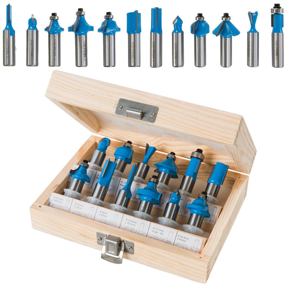 Silverline 12 Piece 12mm Shank TCT Router Bit Set In Wooden Case Cutter Cove