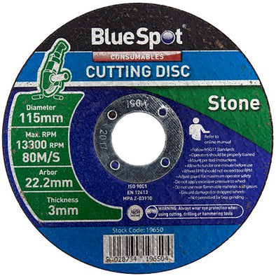 BlueSpot 115mm Stone Cutting Disc 3mm Thickness