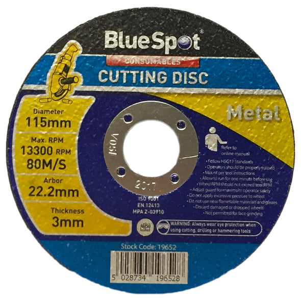 BlueSpot 115mm Metal Cutting Disc 3mm Thickness