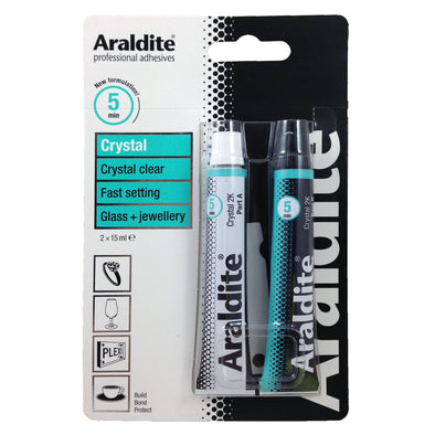 Araldite 2 x 15ml Crystal Clear Glass and Jewellery Strong Epoxy 2 Part Glue