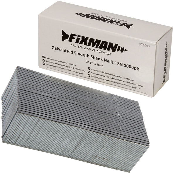 Fixman 5000pc 18 Gauge Galvanised Smooth Shank Brad Nails 10-38mm