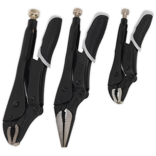 Sealey Premier Black 3 Piece Quick Release Locking Pliers Set Mole Grips