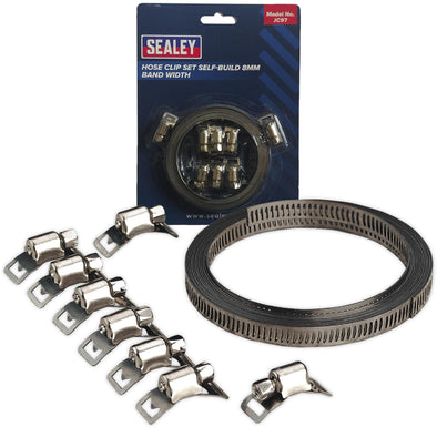 Sealey Hose Clamp Set Self Build 8mm Band Width with 8 Tension Clamps