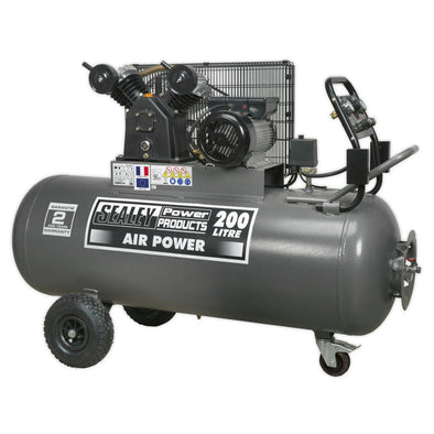 Sealey Premier Compressor 200L Belt Drive 3hp with Front Control Panel