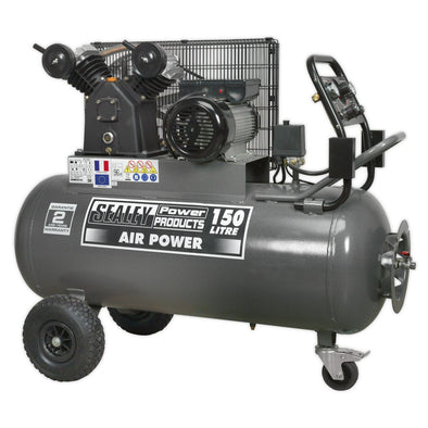Sealey Premier Compressor 150L Belt Drive 3hp with Front Control Panel