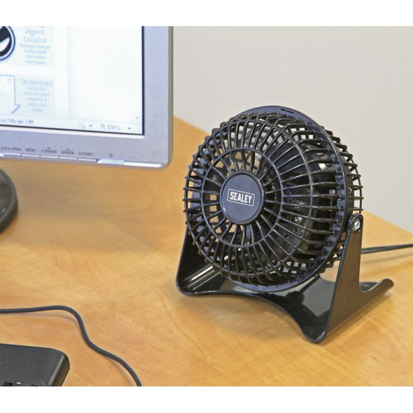 "Sealey 4"" Mini Desk Fan 230V Bedside Table Air Conditioning Summer Pivoting"