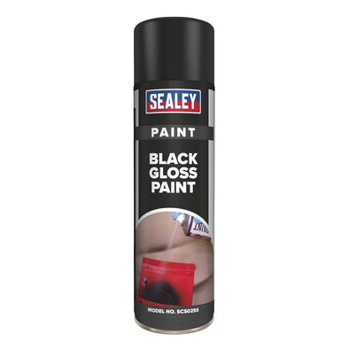 Sealey Black Gloss Paint 500ml Pack of 6