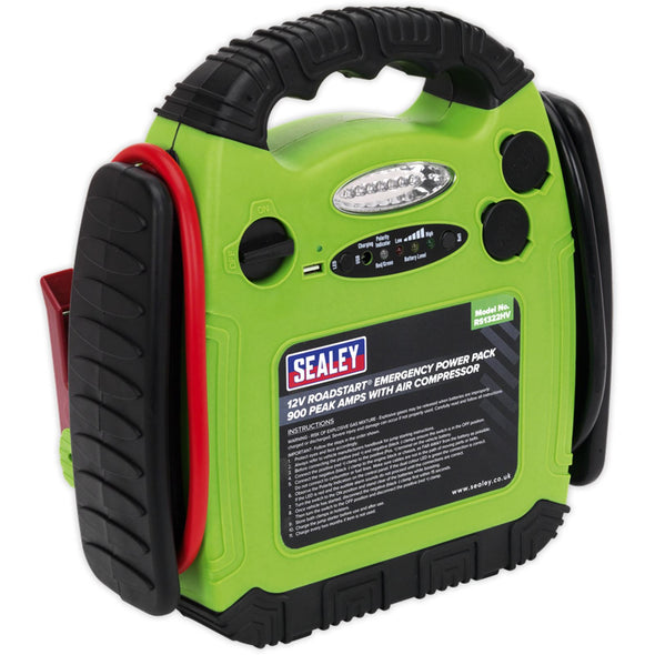 Sealey 12V RoadStart Emergency Power Pack 900 Peak Amps with Air Compressor Hi-Vis