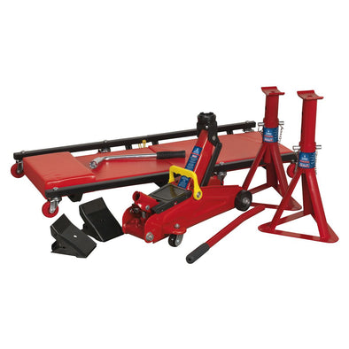 Sealey Lifting Kit 5pc 2tonne (Inc Jack, Axle Stands, Creeper, Chocks & Wrench)