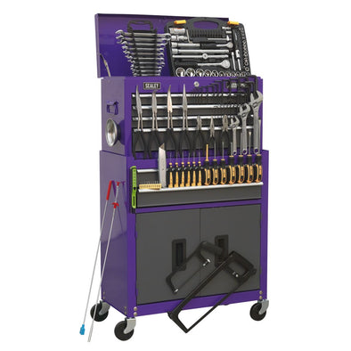 Sealey American Pro Topchest & Rollcab Combination 6 Drawer with Ball Bearing Slides - Purple/Grey & 128pc Tool Kit