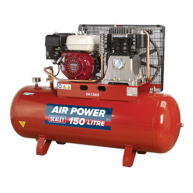Sealey Compressor 150L Belt Drive Petrol Engine 6.5hp