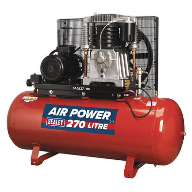 Sealey Compressor 270L Belt Drive 10hp 3ph 2-Stage with Cast Cylinders