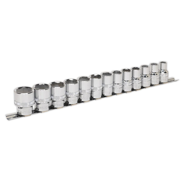 "Sealey 13 Piece 1/2"" Drive Lock-On Metric Socket Set 10-24mm 85% Rounded Nuts"