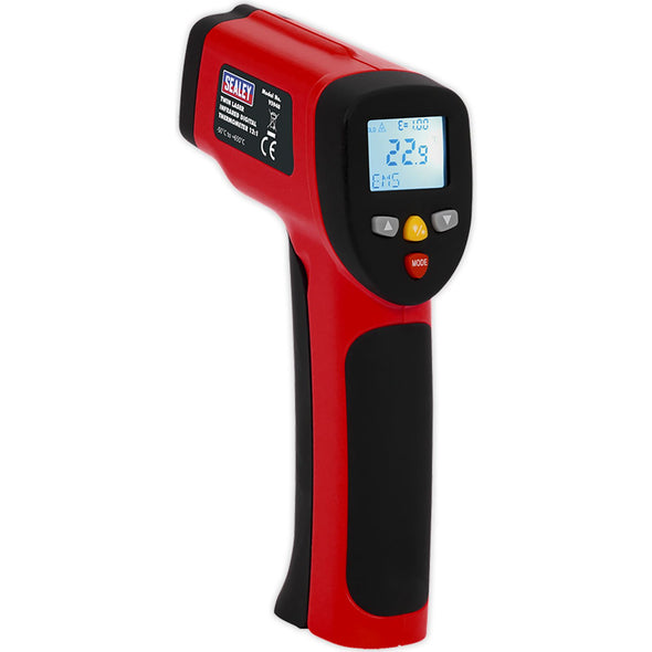 Sealey Twin Laser Infrared Digital Thermometer 12:1 LCD Display Twin-Spot