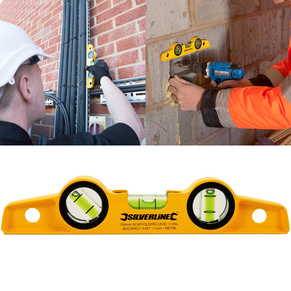 Silverline 250mm Scaffolders Spirit Level with Magnetic Base