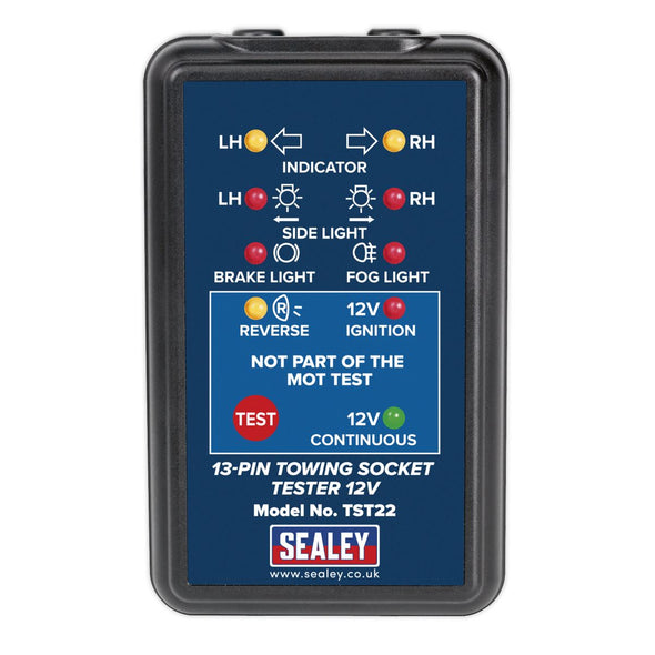 Sealey 13 Pin 12V Towing Socket Tester VOSA MOT Approved 4.9m Cable