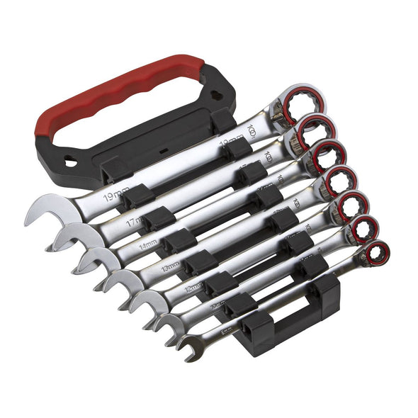 Sealey Reversible Ratchet Combination Spanner Set 7 Piece 8-19mm 100 Tooth Premier