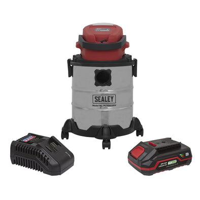 Sealey 20V Cordless 20L Wet and Dry Vacuum Cleaner Kit 2Ah Battery and Charger
