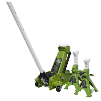 Sealey Trolley Jack 3tonne Super Rocket Lift & Axle Stands (Pair) 3tonne Capacity per Stand-Hi-Vis