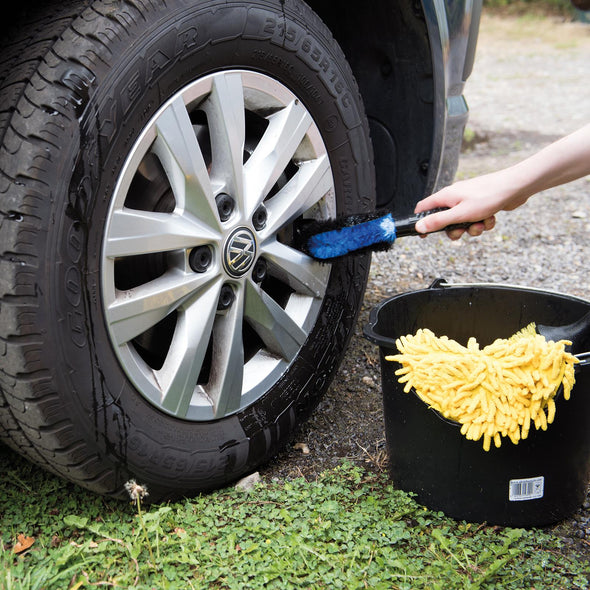 Silverline 250mm Wheel Cleaning Brush Steel Alloy Car Van Auto Valet