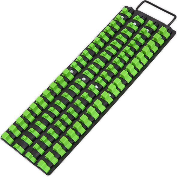 "Sealey Premier High Visibility Green 1/4"", 3/8"" & 1/2"" Square Drive Socket Rail Tray"