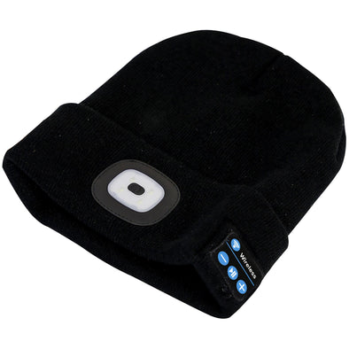 Sealey Beanie Hat 4 SMD LED Head Light with Wireless Headphones USB Rechargeable
