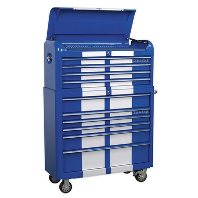 Sealey Premier Retro Style Extra-Wide Topchest & Rollcab Combination 10 Drawer Blue/White Stripes