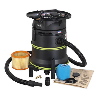 Sealey Vacuum Cleaner Industrial Dust-Free Wet/Dry 35L 1000W/230V Plastic Drum M Class Self-Clean Filter