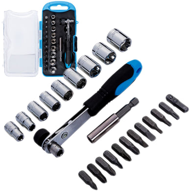 BlueSpot 23 Piece Offset Ratchet Handle Bit and Socket Set in Case