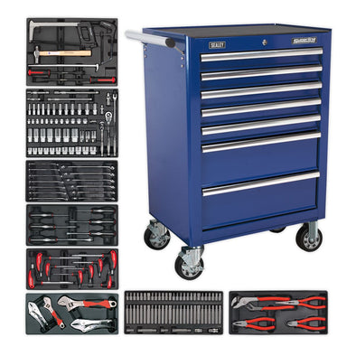 Sealey Superline Pro Rollcab 7 Drawer - Ball Bearing Slides - Blue with 156pc Tool Kit