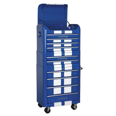 Sealey Premier Retro Style Topchest, Mid-Box & Rollcab Combination 10 Drawer Blue/White Stripes