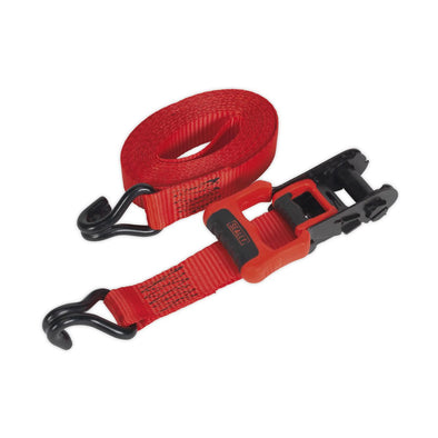 Sealey Ratchet Tie Down 32mm x 4.9m Polyester Webbing with J Hooks 1200kg Load Test - 2 Pairs