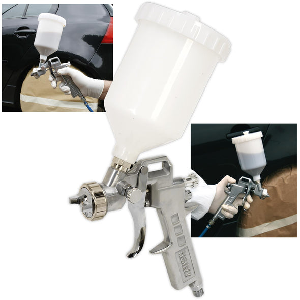 Sealey Gravity Feed Spray Gun 2.2mm Set Up Adjustable Paint Flow 600ml