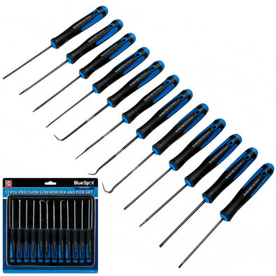BlueSpot 12 Piece Precision Screwdriver and Pick Set