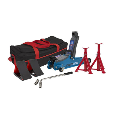 Sealey Trolley Jack 2tonne Low Entry Short Chassis - Blue and Accessories Bag Combo