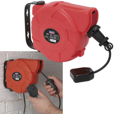 Sealey Cable Reel System Retractable 10m 1 x 230V Socket Outlet Extension