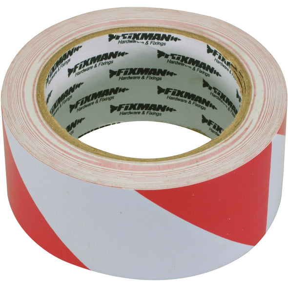 Fixman 50mm x 33m Hazard Tape Red/White or Yellow/Black