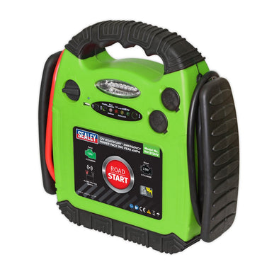 Sealey RoadStart® Emergency Jump Starter 12V 900 Peak Amps Hi-Vis Green