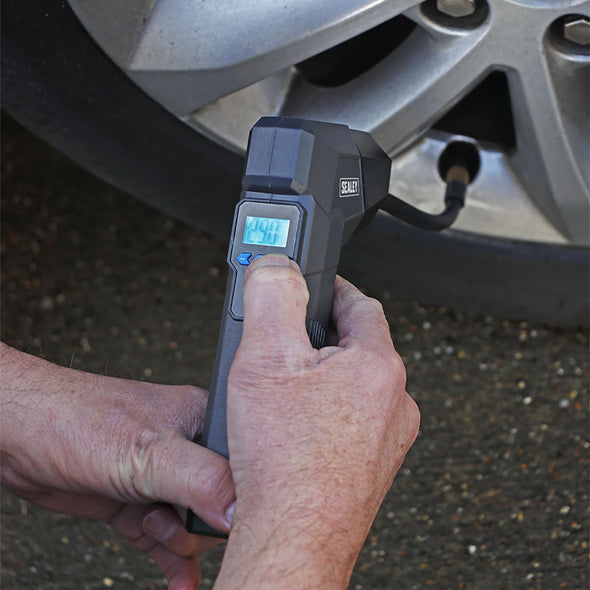 Sealey Compact Rechargeable Tyre Inflator and Powerbank with Work Light
